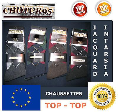 39//42 ou 43//46 COTON INTARSIA LOT DE 6 A 48 PAIRES DE CHAUSSETTES JACQUARD