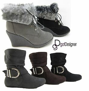 NEW Womens Fashion Booties Shoes Ankle Boots Flat Slouch Mid-Calf ...