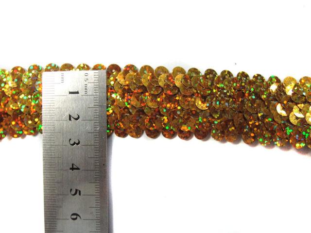 "8 colours- 1""(2.5cm) wide/3 Row Shiny round Sequin Stretch Elastic Trim Meter(s)"