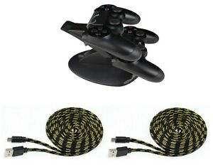 PS4-Set-Controller-Ladestation-2x-Controller-Ladekabel-3-Meter-fuer-PS4