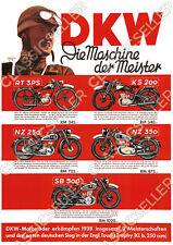 DKW Motorrad Vorkrieg RT 3 PS KS 200 NZ 250 350 SB 500 Poster Plakat Bild Druck