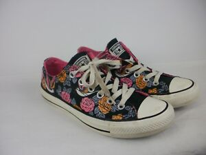 1ee6f3d526c3 A PAIR OF LADIES BLACK FLORAL CANVAS CONVERSE SHOES- TRAINERS SIZE ...
