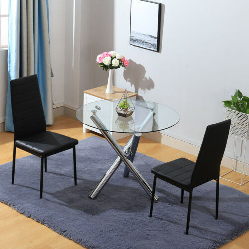 Luxurious Dinning Glass Round Table /& 2 Chairs Cafe Chairs Restaurant Kitchen UK