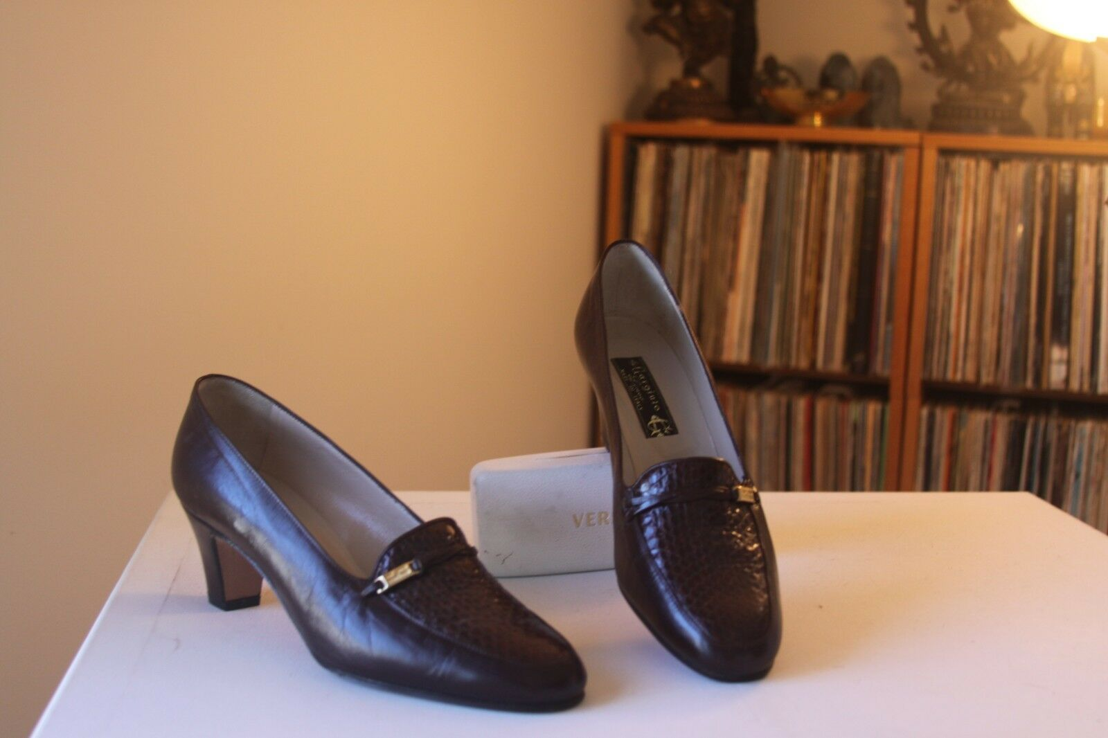 Gargiulo Linea Brown Pelle Pelle Brown Snakeskin Vamp 2 1/2 Inch Heel Pumps Eur Size 40 acd76a