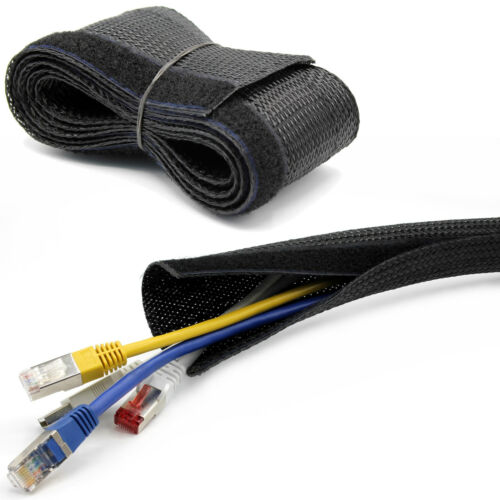 5m Kabelschlauch Kabelkanal Klettverschluss schwarz oder grau Ø15,20,25,30mm