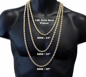 14K Gold Plated High Fashion 8mm Thick Heavy Rope Chain Necklace 24