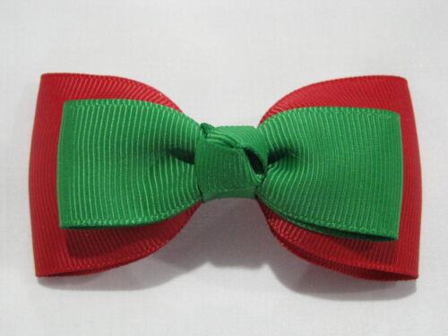 hair bows christmas ribbon girl accessories clip elastic red green medium tuxedo
