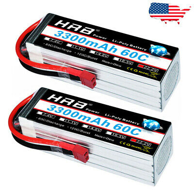 HRB 6S 22.2V 3300mAh 60C Lipo Battery Deans T Plug for RC Drone Hobby Car Truck