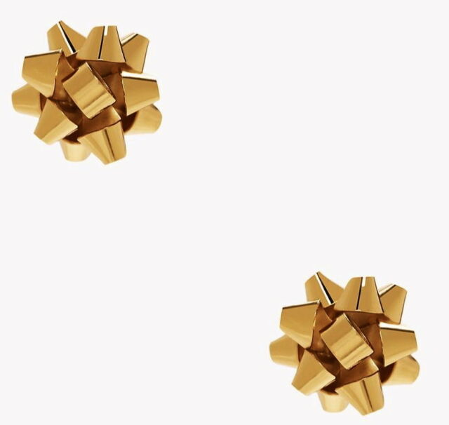 Nwt Kate Spade Gold Bourgebow Bourgeois Christmas Bow Stud Earrings Dust Bag