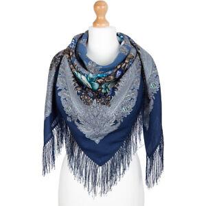 1735-1-authentique-Pavlovo-Posad-Chale-100-laine-125x125cm-russe-foulard-wrap-49-034