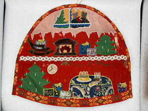 VTG Christmas Appliance Cover Tea Appliance Cover Quilted Embroidery