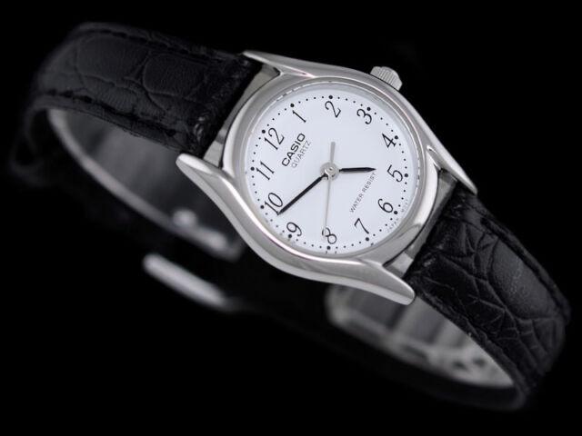 ad34b20722e Casio Ltp-1094e-7b Quartz White Dial Black Leather Strap Ladies Casual Watch