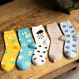 Women-Girl-Cartoon-Footprint-Poached-Egg-Cotton-Mid-calf-Socks-Ankle-Socks-Pip