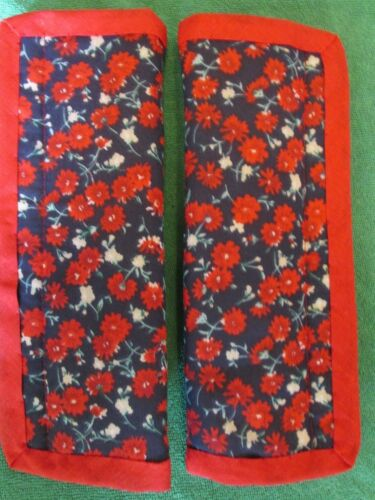 Lightly padded Red Flowers on Navy Car Seat Belt Cover Pads X2 Red Trim