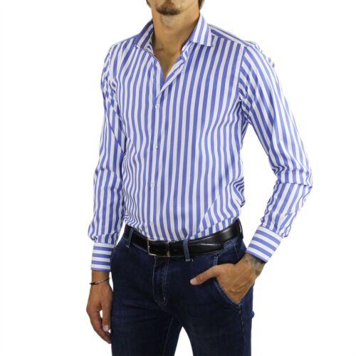 Camicia Uomo Sartoriale Made in Italy a Righe Bianca Blu Cotone Classica