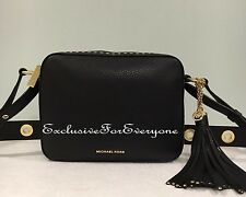 NWT Michael Kors Brooklyn Black Large Camera Crossbody Leather Bag $398