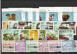 Liberia Cancelled Stamps including old Cars Planes & Trains ref R 18549