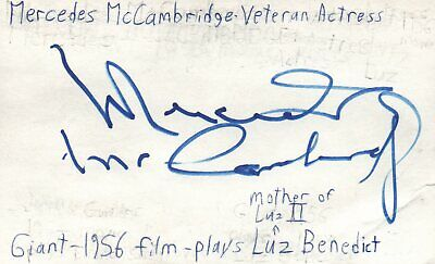 Movies Mercedes Mccambridge Actress Giant 1956 Movie Autographed Signed Index Card
