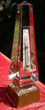 Antique Grand Tour Glass Obelisk Desk Top Thermometer