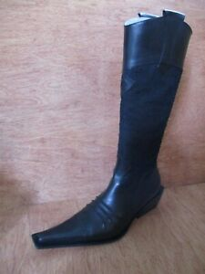 cowboy nuovi 40 in pelle Stivali pelle da scamosciata e nera 10 Chiarini nera Bologna western 5q66gwfA