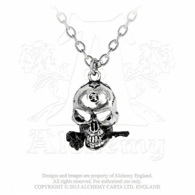 NEW Alchemy Gothic THE ALCHEMIST Pendant Necklace Skull Black Rose P26