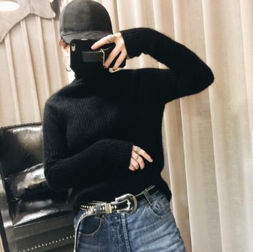 Womens Turtleneck Slim Cashmere Casual Sweater Warm Knitted Pullover Warm Tops