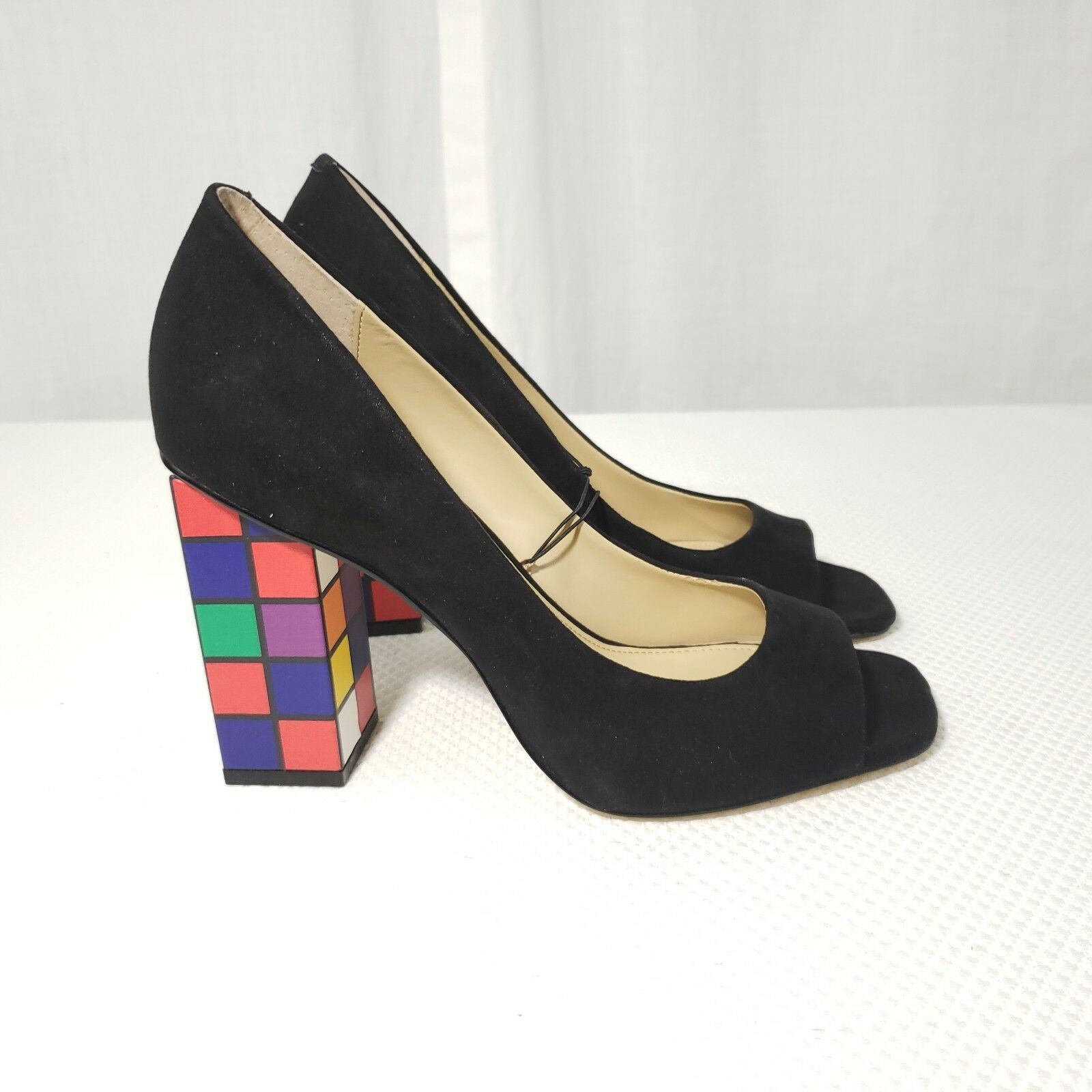 Katy Perry Caitlin 7.5 Peep Rubix Cube Heels Shoes Black Suede Peep 7.5 Toe Pumps a422cd