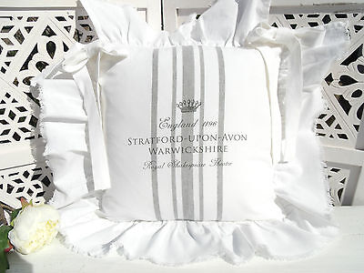 Stuhlkissenbezug STRATFORD  Weiß Grau  40x40 Vintage Shabby Chic Chair Cushion