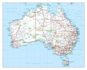 Detailed Map Australia.New Large Detailed Map Of Aus Australian Roads Atlas Wall Print