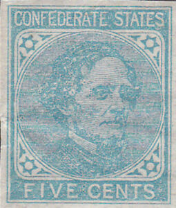 Confederate CSA #7L Five Cent Stamp