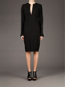 GIVENCHY-2500-Black-Boxy-Shift-Dress-With-Exposed-Silk-Crepe-Sheer-Sleeves