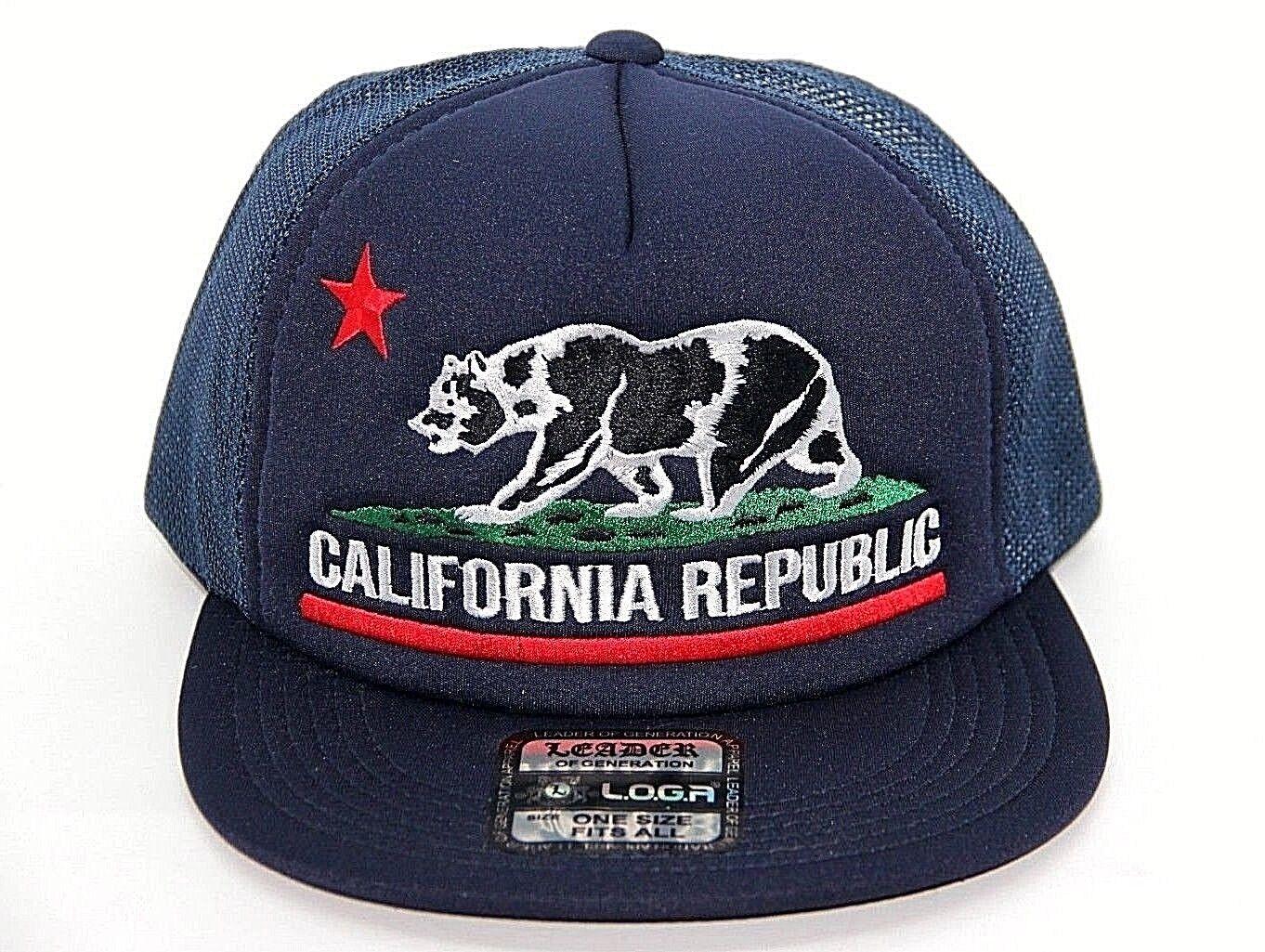 California Hat Big Logo Snapback Men Women Mesh Trucker Camo Military Bear Cap