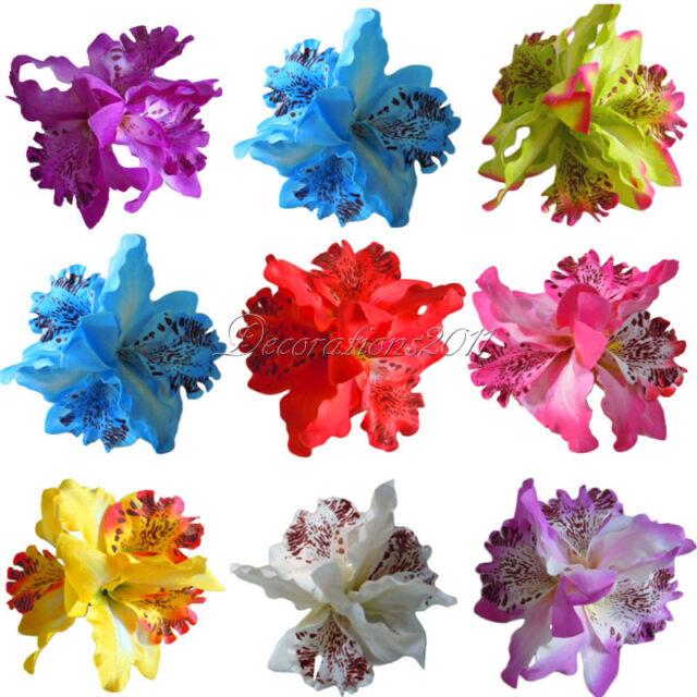 Fashion Wedding Bridal Flower Orchid Leopard Hair Clip Brooch Pin Barrette Decor