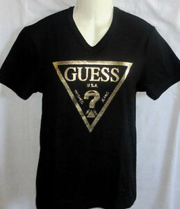 mens guess v neck iconic logo black gold t shirt size xxl. Black Bedroom Furniture Sets. Home Design Ideas