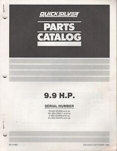 1987 MERCURY QUICKSILVER OUTBOARD 9.9 HP PARTS MANUAL P/N 90-41862 (363)