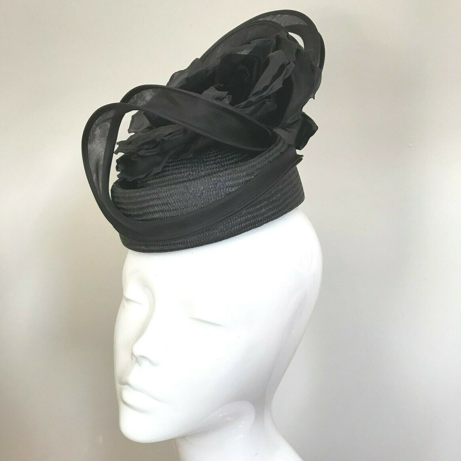Exclusive Black Millinery by Hat Couture Wedding Bridal Race Hat