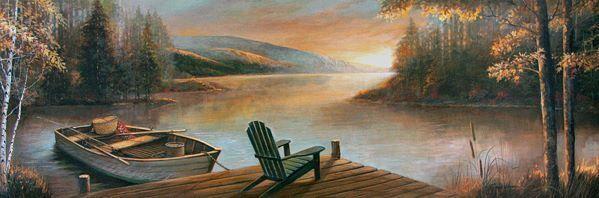 Ruane Manning  Peaceful Serenity Keilrahmen-Bild Leinwand See Ufer Stiefel Berge