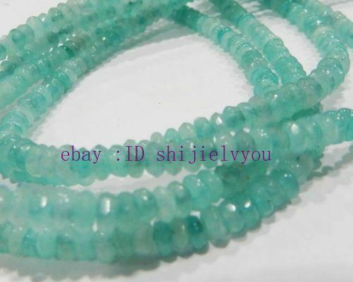 "Faceted 2x4mm Brazilian Aquamarine Light blue Abacus Gems Loose Beads 15"" Strand"