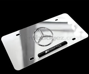 Brand new 3d logo mercedes benz chrome stainless steel amg for Mercedes benz vanity license plates