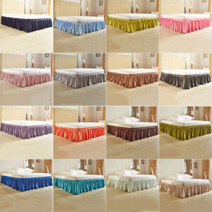 Wrap Around Bed Skirts Drop Solid Color Elastic Bed Skirt
