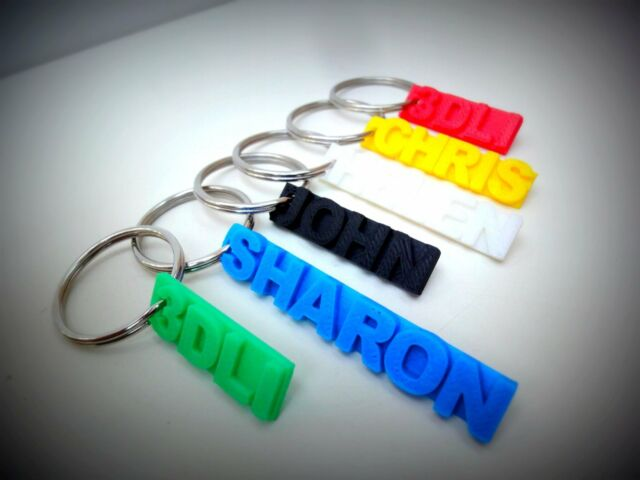 Personalised 3D Printed bag keyring luggage tag name travel name label school