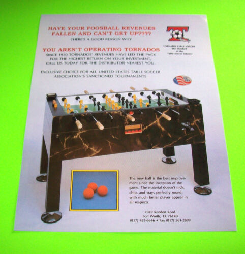 TORNADO TABLE FOOSBALL SOCCER ORIGINAL NOS ARCADE GAME SALES FLYER BROCHURE