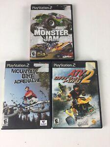 Sony-Playstation-2-PS2-Monster-Jam-ATV-Mountain-Bike-Video-Game-Bundle-Lot