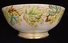 """Jean Pouyat Limoges 15"""" Antique Hand Painted Porcelain Serving Bowl Grape Vine"""