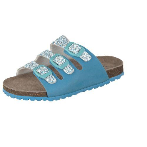 Softwaves Kinder Schuhe 474-247 Hausschuhe Glitzer Pantoffeln Schnalle Türkis