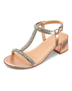 WOMENS ROSE GOLD WIDE FIT PEEP-TOE