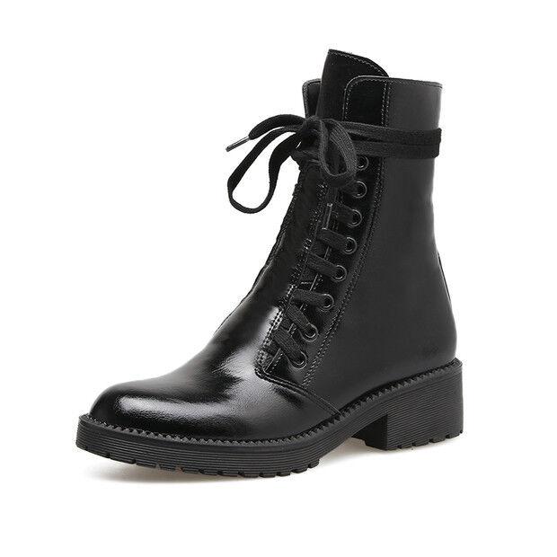 Stiefel Niedrig Schuhe Militärschuhe 3 cm Schwarz Elegant Leder Kunststoff 9425