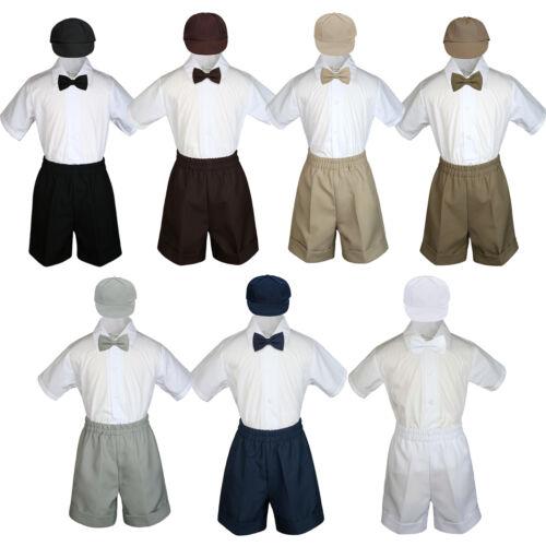 Baby Toddler Boy Wedding 4pc Formal Suit Set Black Khaki White Navy Brown S-4T