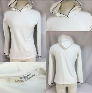 20e32b829 St. Michael Marks   Spencer Hoodie Yoga Pullover M White Nylon Lycra ...