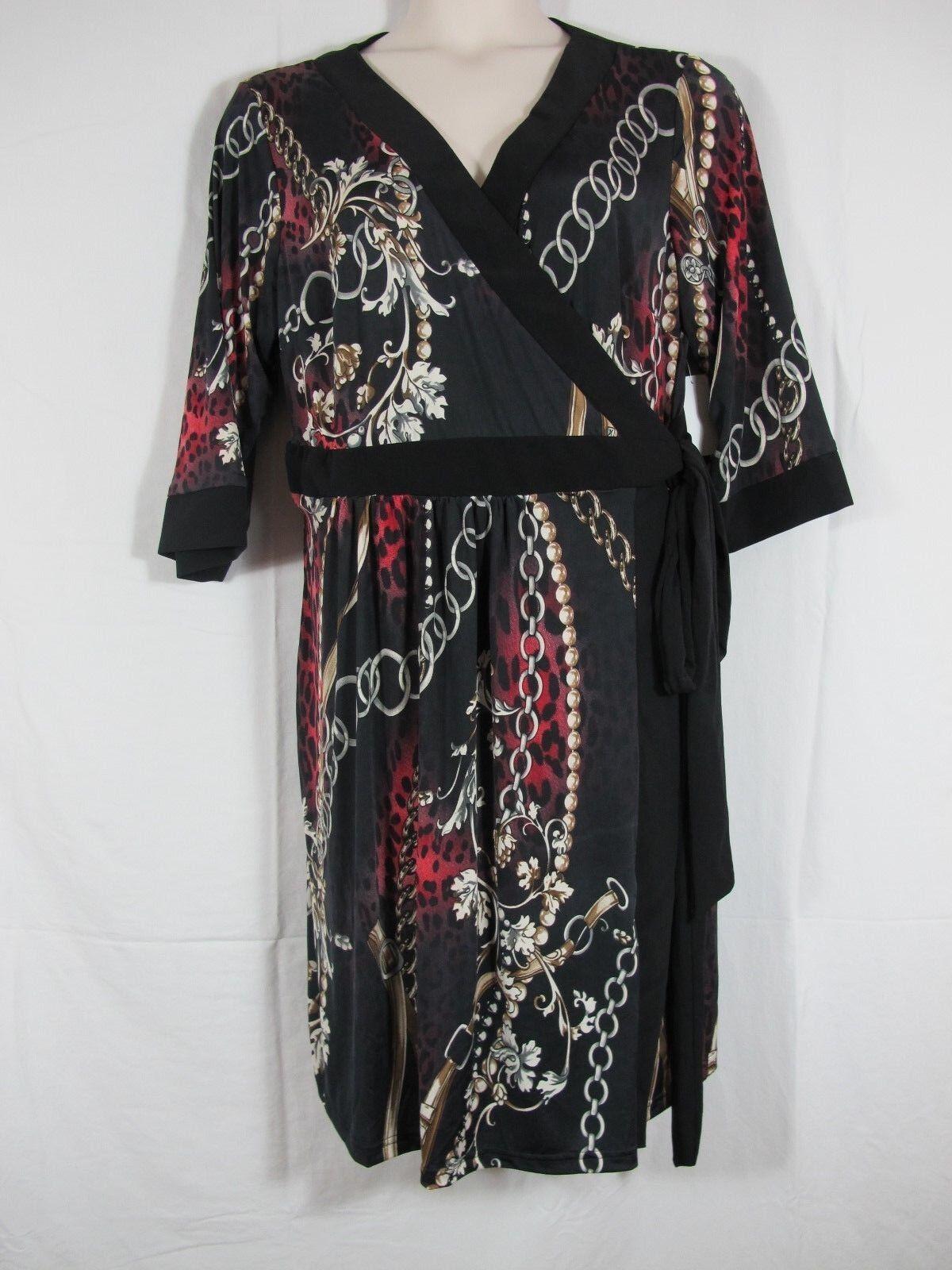 Melissa Masse Classic Wrap Dress schwarz Multi Farbe MARSALA FIGARO PEARL Plus 3X